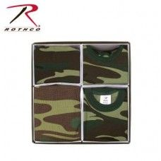 Infant 4 Piece Camo Boxed Gift Set.  Rothco Infant 4 Piece Camo Boxed Gift Set is a great gift for that little camo cutie. The gift set contains 1 Bodysuit (size 3-6 Months), 1 Bib, 1 Crib Cap and 1 receiving blanket.