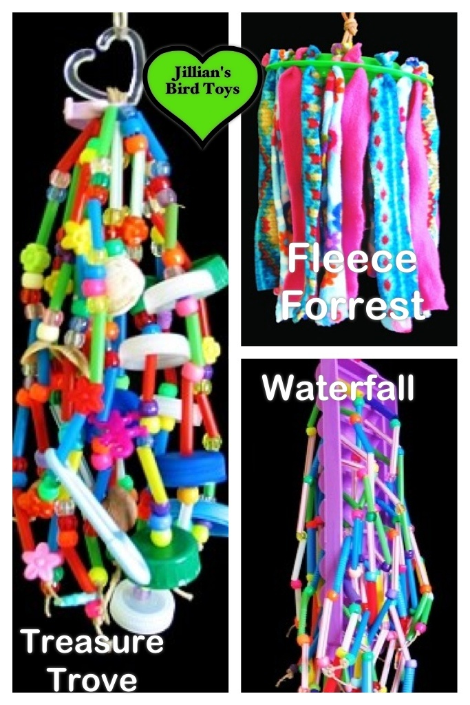 """Lav en lille (træ?) plastik- ring, m. små stykker fleece (andet stof? Kan fugle tåle fleece? Bliver det nemt bidt i små stykker? - SPØRG i fugleforums; om det er ok stof at bruge?! - bruge andet sikkert blødt stof? (Gem evt. en liste i mappen """"Materiaker; m. de forsk. slags stof, som er ok at bruge til legetøj, mm (som fuglene må bruge/kan tåle at bide i), og evt. liste m. stoffer som fugle ikke kan tåle, og ikke kan bruges til ting og legetøj! ☺️ Jillian's Bird Toys from…"""