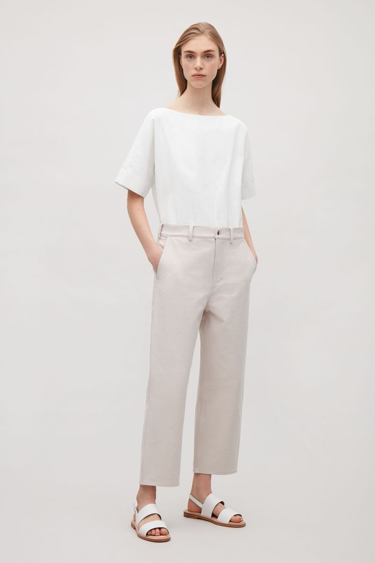 COS image 1 of Wide-neck canvas top in Off white