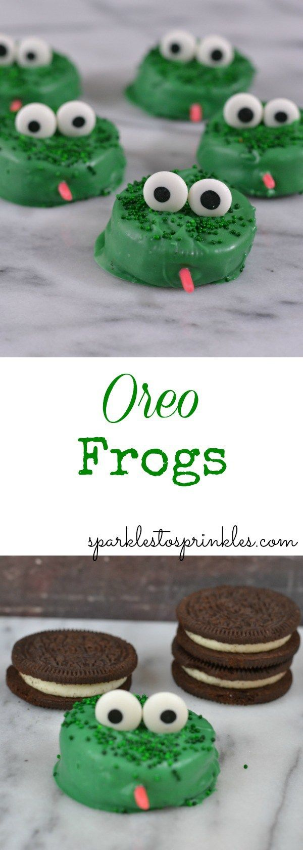 These Oreo Frogs are as cute as can be.  Super easy to recreate.  Your kids will love making them as much as they love eating them.  Ribbet! Pin for Later!
