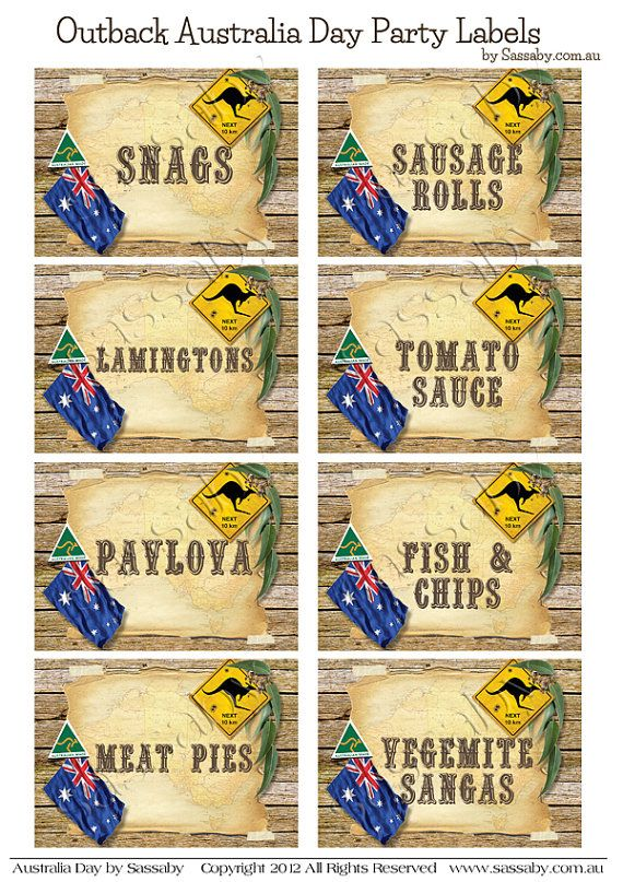 Outback Australia Day Party Labels INSTANT by SassabyParties