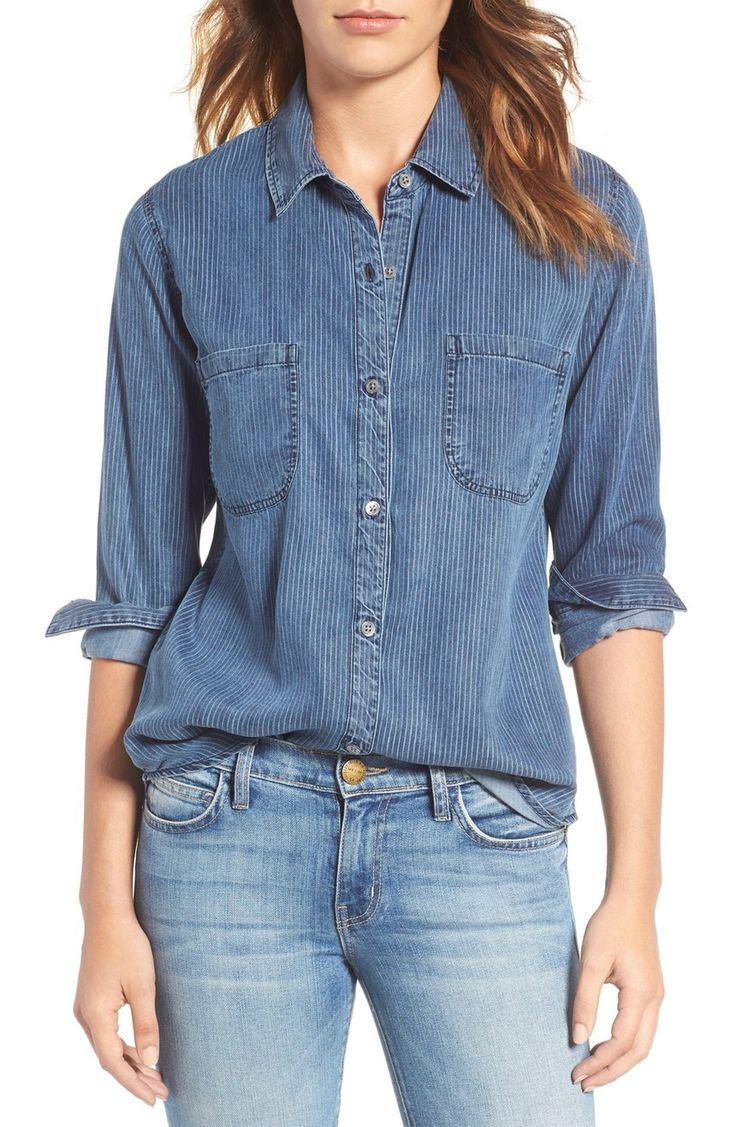 Main Image - Rails Carter Textured Stripe Chambray Shirt