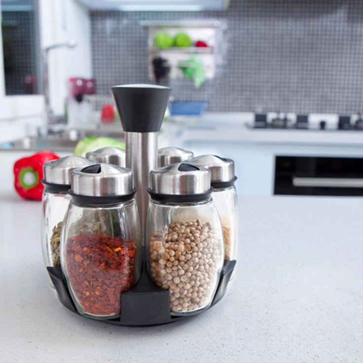 6pcs/set rotating spice rack salt and pepper cruet condiment set glass jars mason jar seasoning shelf bottle cooking tools