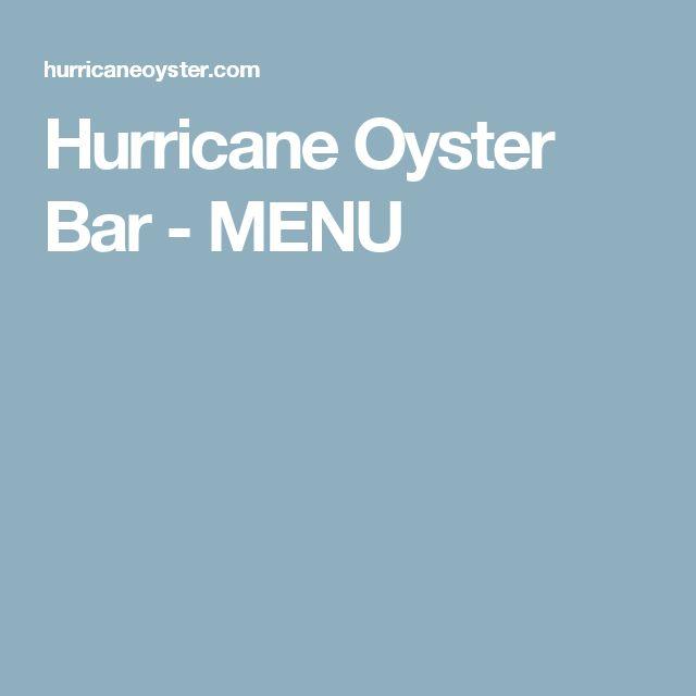 Hurricane Oyster Bar - MENU