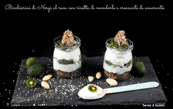 Bicchierini di nergi con ricotta di mandorle e croccante di amaranto vegan senza glutine  http://www.senzaebuono.it/crostatine-integrali-nergi-cioccolato-vegan-senza-glutine/