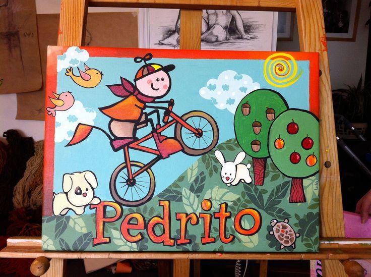 Pintado por encargo para bebé Pedrito (Acrílico 30 x 40 cms)