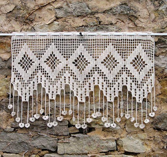 best 25 cortinas crochet ideas on pinterest crochet. Black Bedroom Furniture Sets. Home Design Ideas