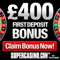 At Super Casino, you can win a grand 100% Welcome Bonus! On depositing a minimum of £10 you can win £10 extra which will offer you a total of £20 to play with. It's always desirable to play at Super Casino. So, just join in to experience an impressive collection of casino games right at your convenience. http://tracking.supercasino.com/processing/clickthrgh.asp?btag=a_7036b_1423&aid=8