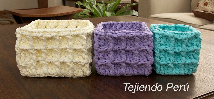 Canastas cuadradas tejidas en el punto waffle crochet xl - Puntos crochet trapillo ...
