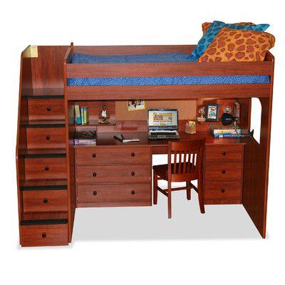 Berg Utica Full Dorm Loft Bed with Stairs & Reviews   Wayfair