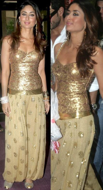 Kareena Kapoor in Gold Hareem Pants and Blouse