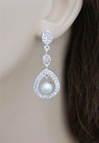 Pearl Bridal Earrings -  Pearl Wedding Earrings 776