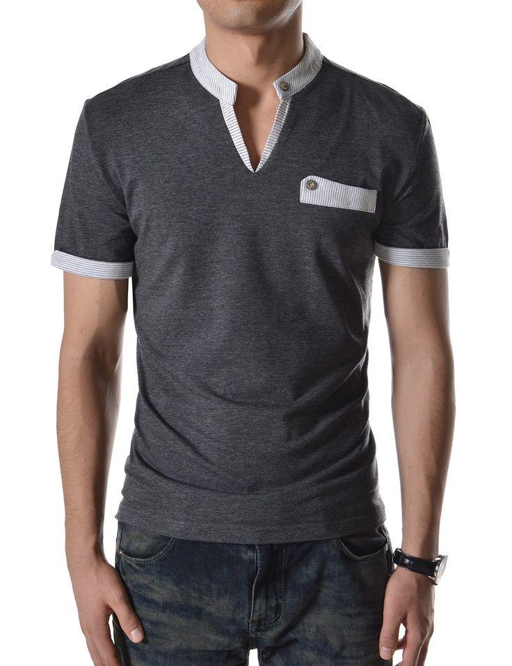 TheLees hombres Stripe Slim-Fit cuello remendado punto de manga corta T Shirts en tienda Ropa de Hombre Amazon: camisetas de la moda