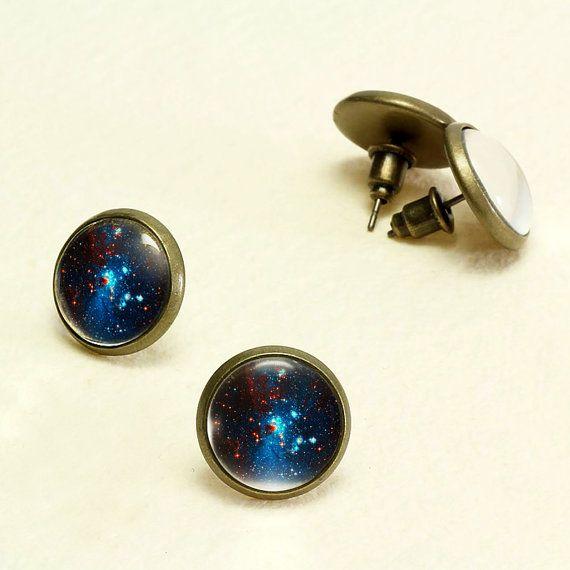 Deep Blue Nebula Stud Earrings. Galaxy Earrings Studs. Glass Dome, Nickel Free Stud Earring, Antique Bronze Space Stud Earrings KSZ01R06K01B