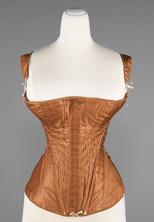 Cotton (sateen?) corset with metal and bone 1830–35, American - in the Metropolitan Museum of Art costume collections.