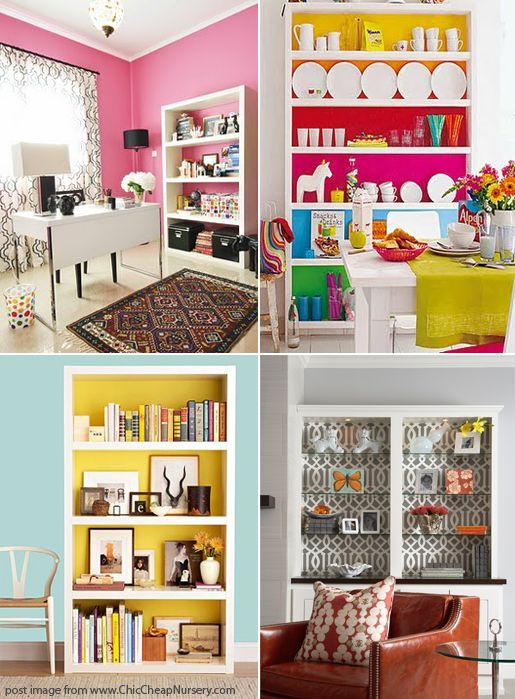 Book case ideas. Good idea to add color to a room without painting walls.