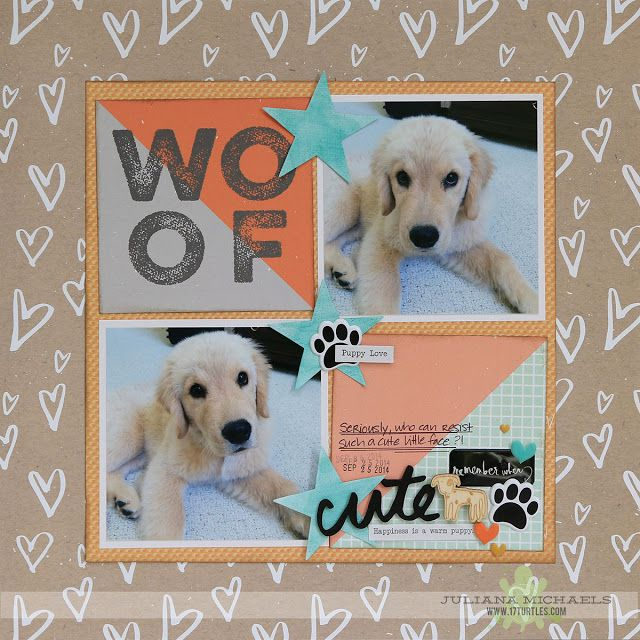 Cute Puppy Scrapbook Page using Watercolored Die Cuts by Juliana Michaels featuring MFT Stamps and Studio Calido