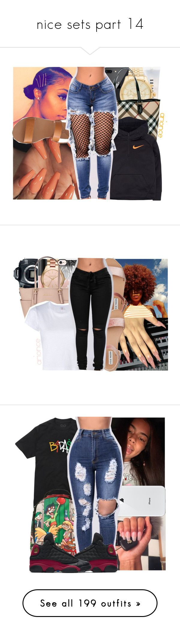 """""""nice sets part 14"""" by danny-baby ❤ liked on Polyvore featuring Bobbi Brown Cosmetics, Michael Kors, Burberry, NIKE, Ancient Greek Sandals, Casetify, Eos, Bare Escentuals, MICHAEL Michael Kors and RE/DONE"""