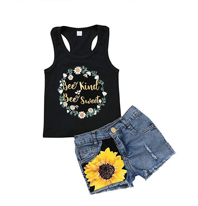 Kids Baby Girls Summer Clothes Vest Tank Tops Denim Ripped Shorts Pants 2PCS Set