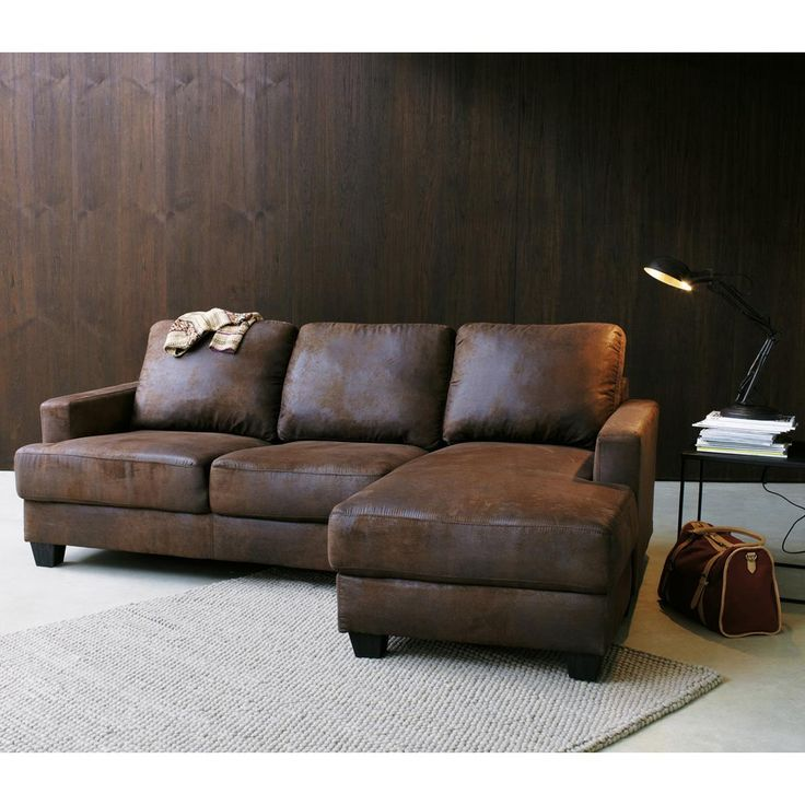 canap d 39 angle droit 3 4 places en microsu de marron. Black Bedroom Furniture Sets. Home Design Ideas