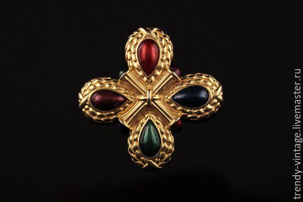 Купить Эффектная брошь с разноцветными кабошонами в виде Мальтийского креста - винтаж, винтажный стиль