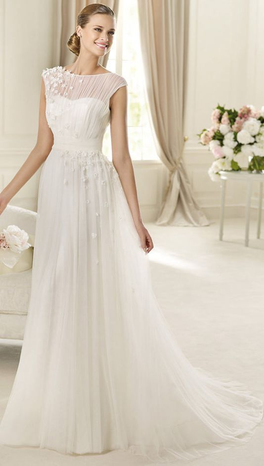 Charming Ball Gown Bateau Ruching Hand Made Flowers Sweep/Brush Train Tulle Wedding Dresses