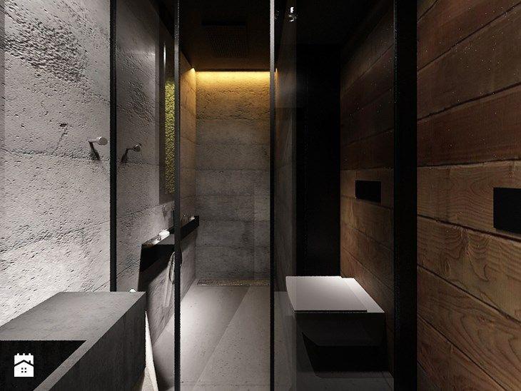 DRAFT WOOD - Średnia łazienka w domu jednorodzinnym bez okna, styl industrialny - zdjęcie od Otwarte Studio Sztuka