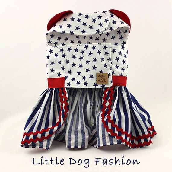 Dog dresses Dog Harness dress Patriotic Stars by LittleDogFashion