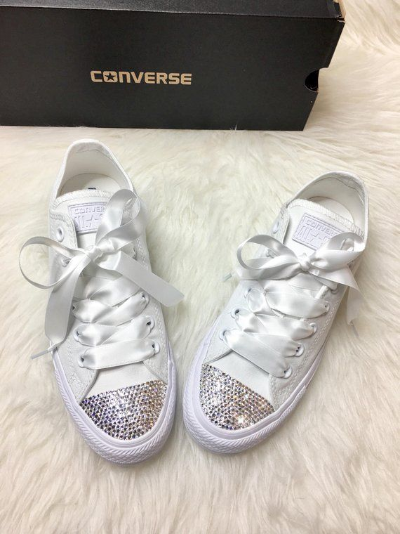 Bling Custom White Converse With Beautiful Swarovski Crystals And Satin  Ribbon Laces These are one of a kind beautiful custom made sneakers 4320dc967a
