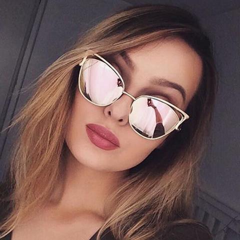Cat Eye Female Sunglasses Women Rose Gold Matel