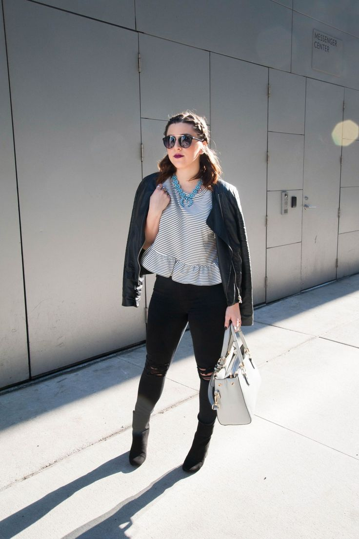 {The Boxy Peplum | Simply Audree Kate} Striped peplum outfit with a black leather jacket, boots, and ripped jeans