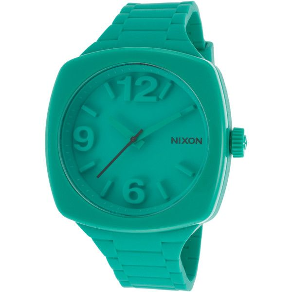 Nixon Women's Green Rubber And Dial ($31) ❤ liked on Polyvore featuring jewelry, watches, green, green watches, crown jewelry, nixon watches, tri color jewelry and colorful watches