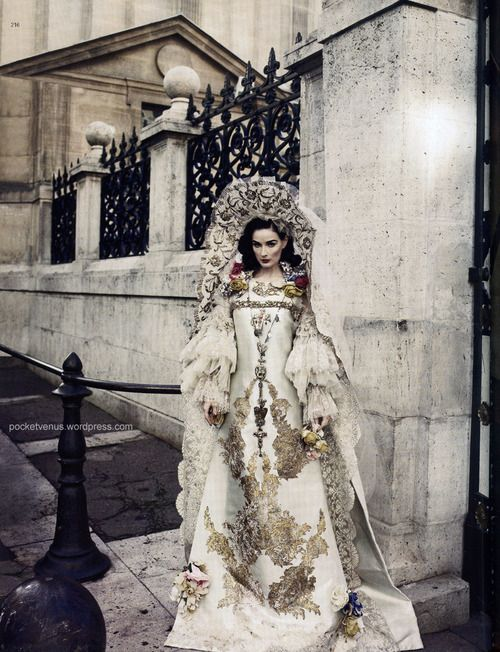 Lacroix haute couture S/S 2010 on Dita von Teese; photographed by Marcin Tyszka for Harper's Bazaar Russia, December 2009 issue. Styled by Natalia Alavedian.