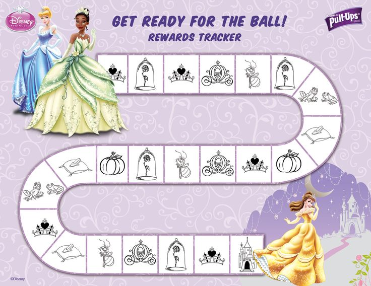 Princess Potty Chart with the end result a fabulous Ball complete with pretty dress, jewelry, and a crown! Each time she completes it she gets to pick from a treasure chest of jewelry or a crown! Jackpot!