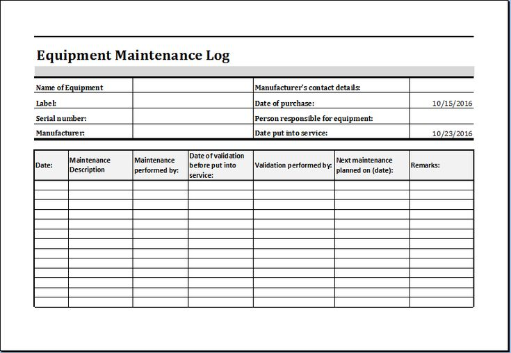 Equipment Maintenance Log Template At HttpWwwXltemplatesOrg