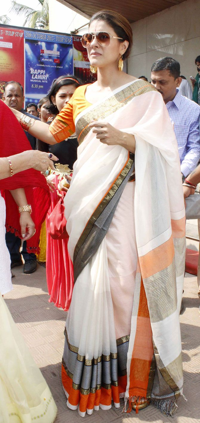 Kajol celebrate Durga Puja. #Bollywood #Fashion #Style #Beauty #Hot #Desi #Saree