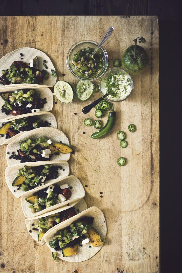 Taco Thursday: Smoky Lentil Tacos with Kabocha Squash and Green Tomato Salsa. #recipe