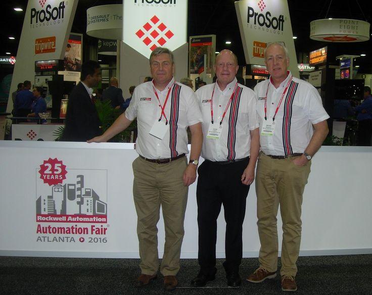 L-R: Harry Booker (adi Automation), Alan Lusty (adi Group CEO) and Bryan McAuley (adi Automation) at Rockwell Automation's 'Automation Fair' in Atlanta 2016