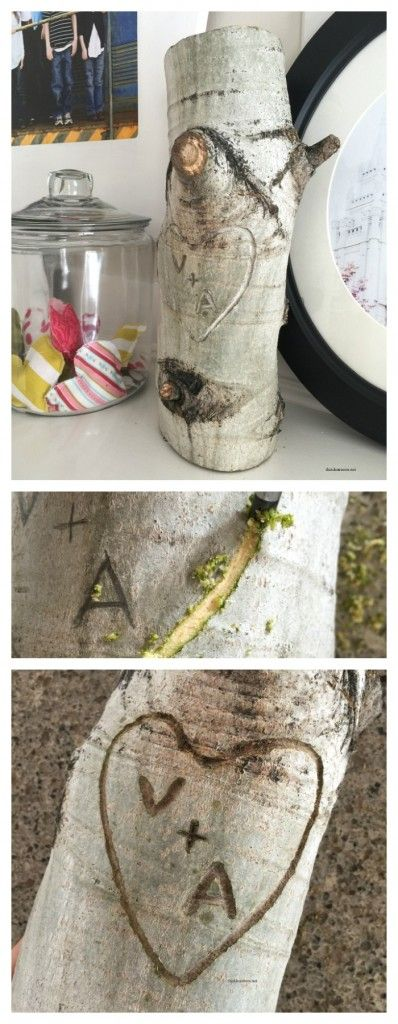 Valentine's Day Decor | Create this fun and unique Valentine's Day Decor idea to display in your home. Great for Master Bedroom or DIY Wedding Gifts. Tree Stump Heart Initials!