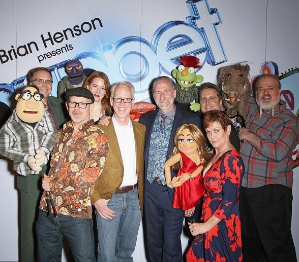 "Brian Henson, Murray SawChuck, Jenni Lee, Jeff Civillico, Chadwick Johnson, Cast of BAZ celebrate opening of ""Puppet Up! – Uncensored"" at The Venetian"