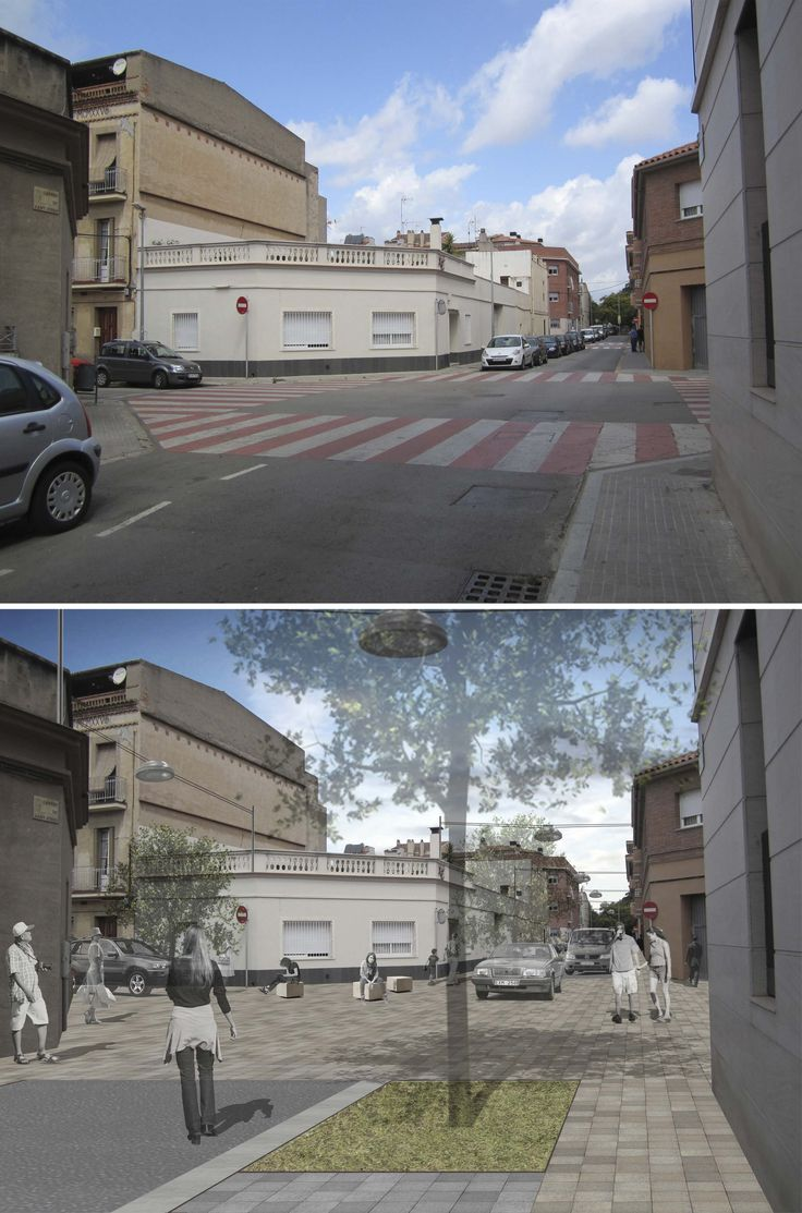 Current state and proposal for one of the intersections, Sant Feliu de Llobregat, Barcelona. #URBANing #PublicSpace #Architecture