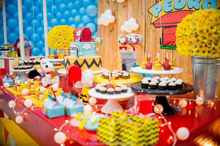 Blog maternidade Meu Dia D Mãe - Festa Menino Pedro 01 Ano - Decoração Snoopy Amarela e vermelha (5)