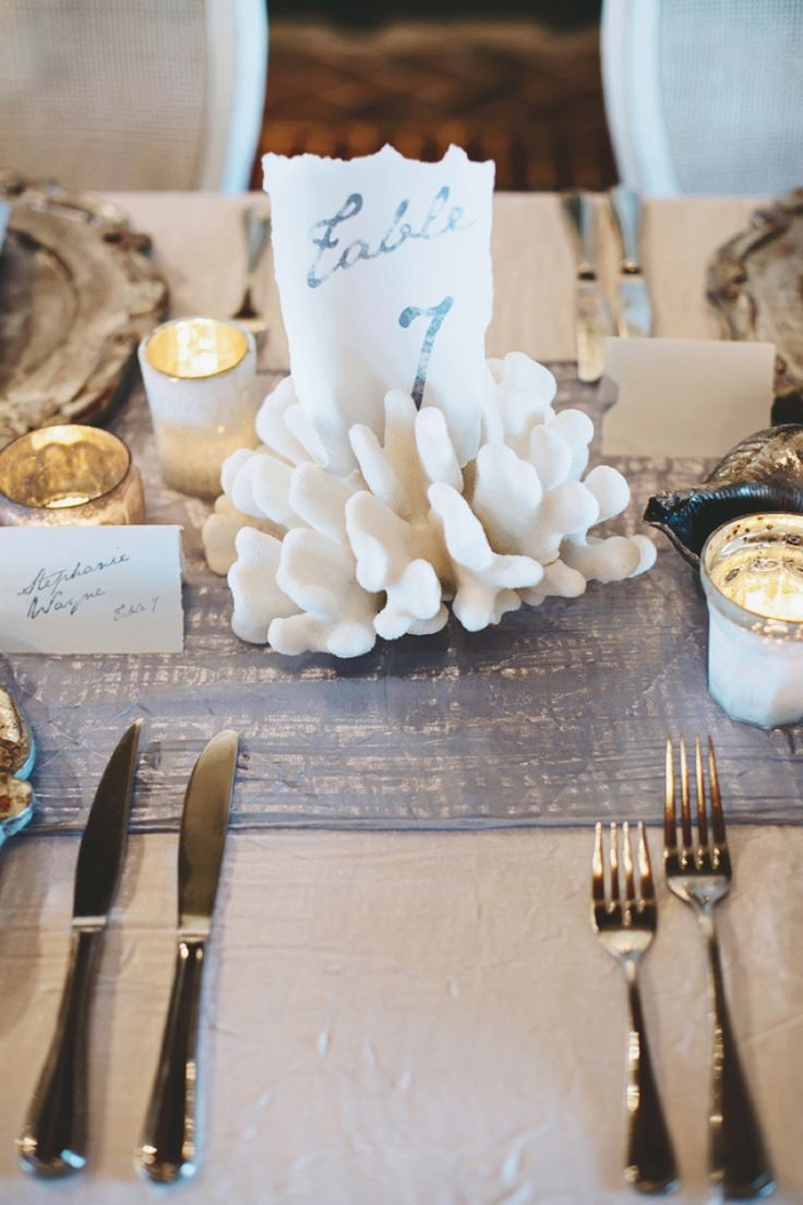 beach wedding table number love the use of coral romantic natural beach wedding