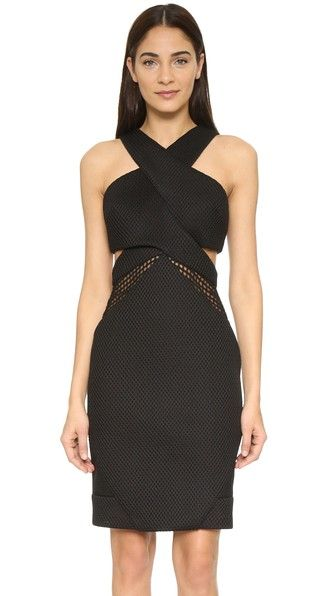 KENDALL + KYLIE Mesh Front Dress in Black - $258