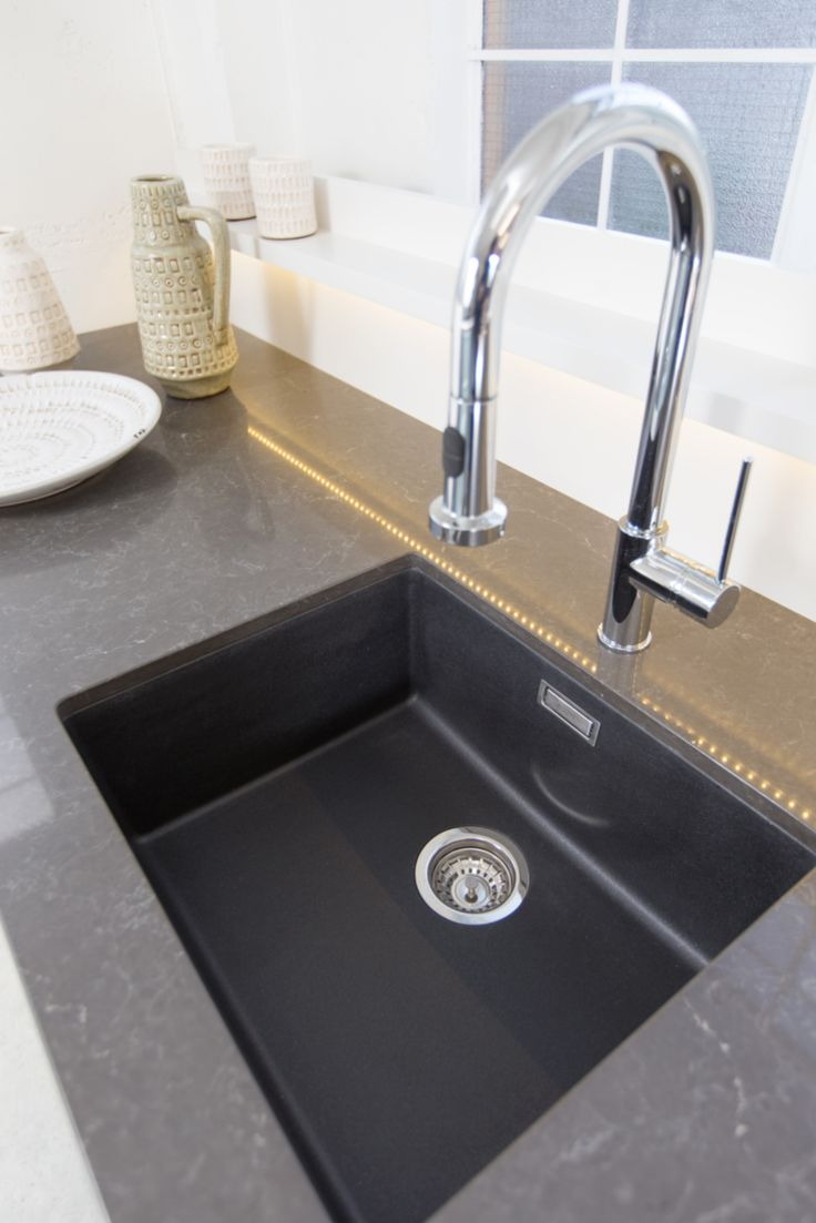 Showroom Kitchen. By Sally Steer Design, Wellington NZ. Black sink - undermounted.