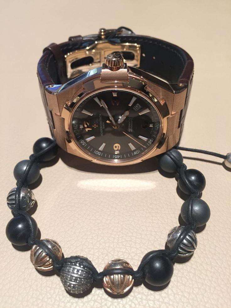 The beautiful Vacheron Constantin Overseas Rose Gold with custom made Nialaya rose gold and Indian black diamonds