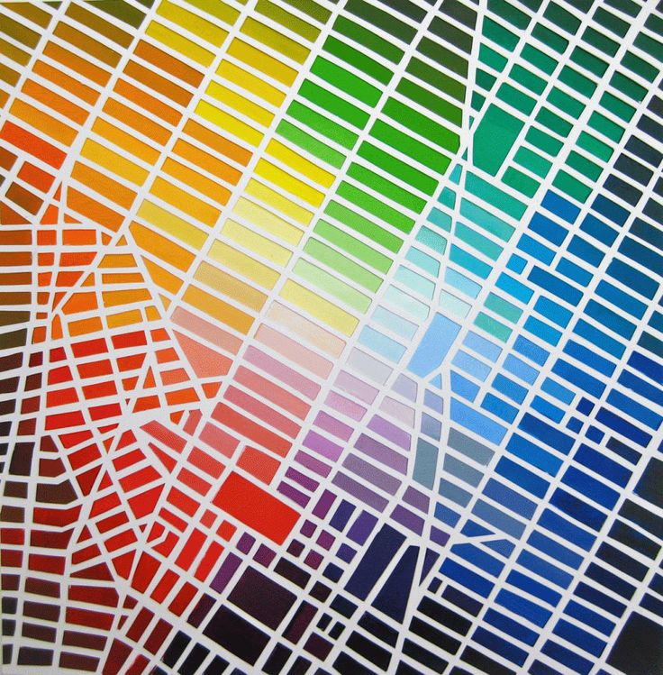 A color-coded map of Manhattan. From my Imprint Q with Parsons' color theory team.