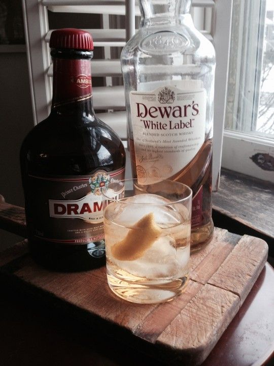 The Rusty Nail 2 ounces Scotch 1 ounce Drambuie 1 twist of lemon  Combine the Scotch and Drambuie in an old-fashioned glass. Fill it with ice and garnish with a twist.