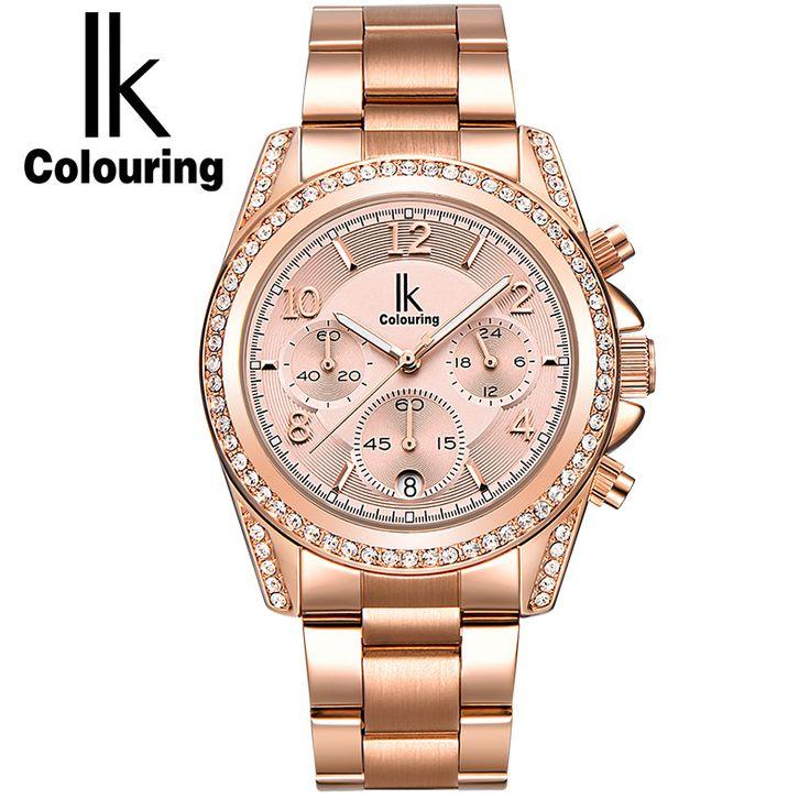 IK Casual Horloges Vrouwen Women's Day/Week/24hours Mother-of-Pearl Dial Quartz Watch Wristwatch Original Gift Box Free Ship