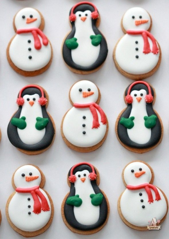 snowmen and penguin peanut butter cookies